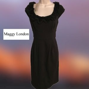 Maggy London Sheath Dress Ruffled Bateau Neck Sz 6